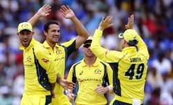 Nathan Coulter-Nile celebrates after Ajinkya Rahane's