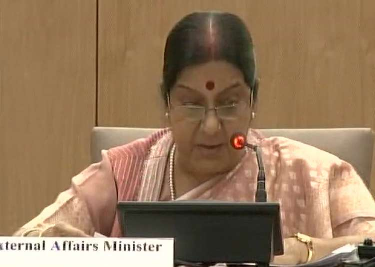 Sushma Swaraj speaking at the BRICS media forum- India Tv