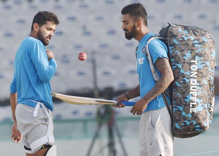 Murli Vijay and KL Rahul during a practice session in Mohali- India Tv