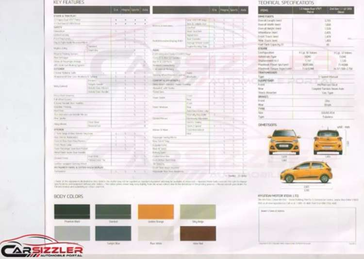 hyundai grand i10 brochure reveals tech specs colours and- India Tv