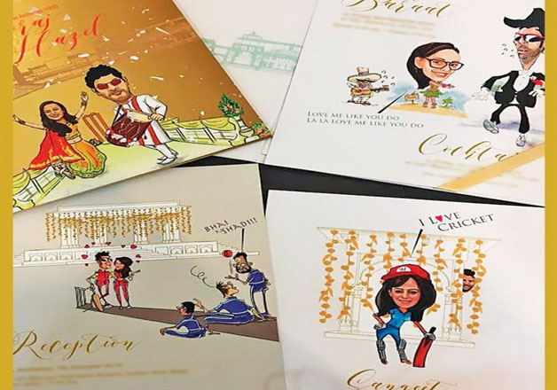 Their wedding card features caricatures of the couple and is titled as 'Yuvraj-Hazel Premiere League'. Sandy and Kapil Khurana have designed the card with this innovative concept