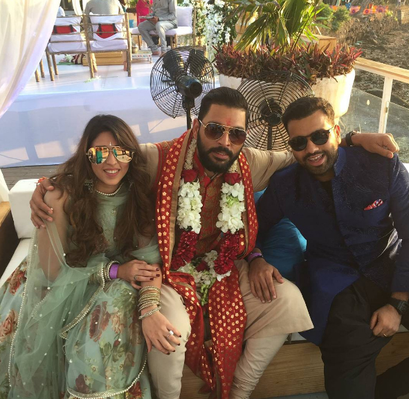 Friend and colleague Rohit Sharma turns up for Yuvi's big day.
