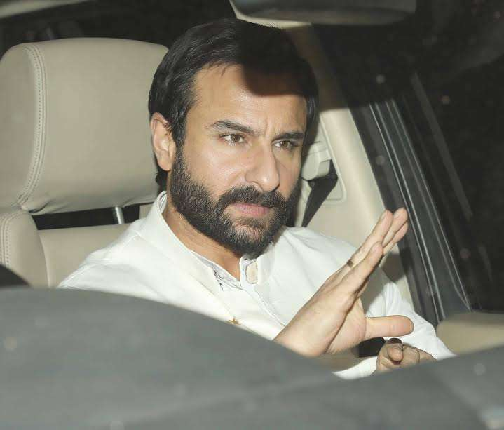 Actor Saif Ali Khan also attended his father-in-law's birthday. He was looking dapper in white.