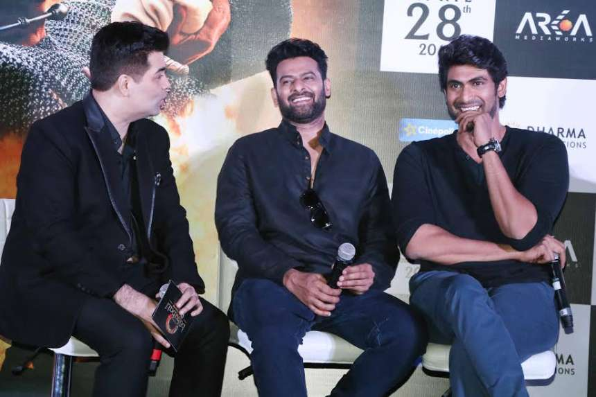 Prabhas, Rana and Karan caught in a candid moment while interacting with the media. Both the actors, who are playing pivotal roles in 'Baahubali 2' have work hard on their physique to get the perfect look.