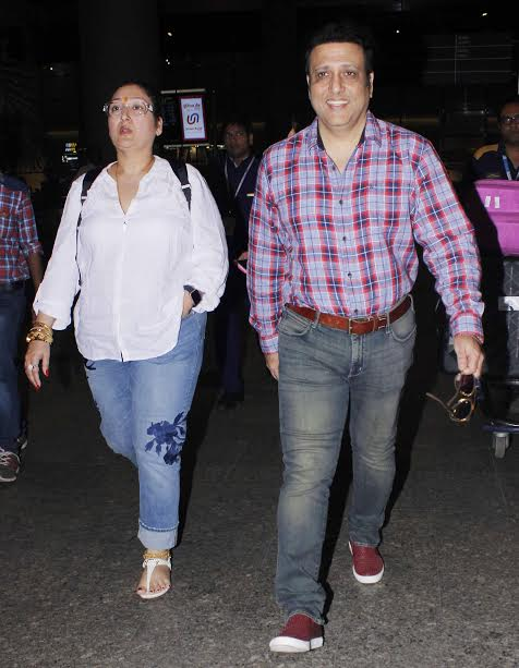 Actor Govinda was spotted with his wife Sunita Ahuja. The actor was all smiles as he posed for shutterbugs. He was also accompanied by his daughter Tina.