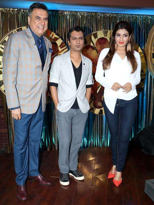 Nawazuddin Siddiqui with Boman Irani and Raveena Tandon, who are also the judges of the show.