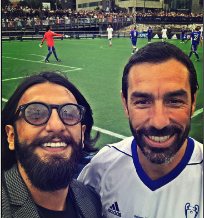 Sharing a picture on his Instagram with former French footballer Robert Pires, Ranveer wrote, ''A moment that had to be captured with the eternally invincible the former French footballer and footballing coach.''