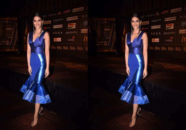 Gorgeous Kriti Sanon rocked the show in her blue shiny attire at the IIFA 2017 event.