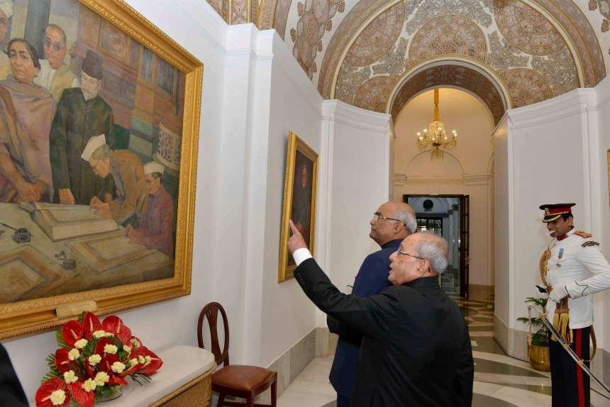 President Pranab Mukherjee with President-elect Ram Nath Kovind at Rashtrapati Bhavan before the latter took oath as the 14th President of India