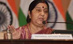 External Affairs Minister Sushma Swaraj addresses a press