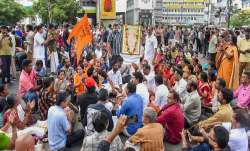 Thousands of BJP supporters marched to the secretariat in