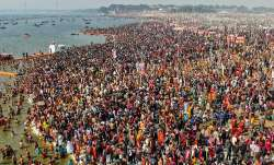 Devotees gather to take a holy dip at Kumbh Mela, Prayagraj
