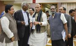 Union Home Minister Rajnath Singh and CPI leader D Raja