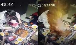 Boiling soup exploding on the waitress's face.