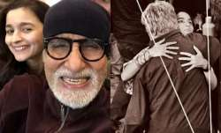 Amitabh Bachchan gives a warm hug to Alia Bhatt on Brahmastra sets