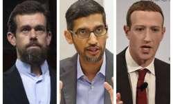 Twitter CEO Jack Dorsey, Google CEO Sundar Pichai, and Facebook CEO Mark Zuckerberg.