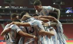 Players of Argentina celebrate their side's opening goal