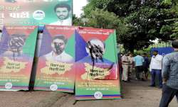 A view of the posters of rebel leaders of Lok Janshakti