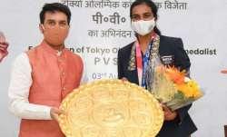 Sports Minister Anurag Thakur with PV Sindhu