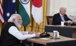 Prime Minister Narendra Modi speaks during the Quad summit