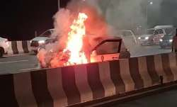 Car catches fire at Meerut highway.