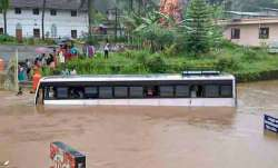 Kottayam: A bus partially submerged in a waterlogged area