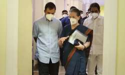 Sonia Gandhi and Rahul Gandhi and others arrive for a