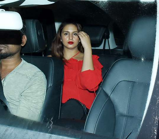 Huma Qureshi attended the Dhadak movie screening looking red hot.